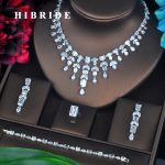 HIBRIDE Luxury Plant Shape Pendant Variety Cubic Zircon Women <b>Jewelry</b> Sets Necklace Sets Dress <b>Accessories</b> Wholesale Price N-414