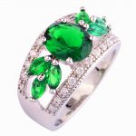 <b>Art</b> <b>Deco</b> Fancy Oval Cut green mysterious hollow 925 Silver color Ring Size 7 New Fashion <b>Jewelry</b> Gift For Women Wholesale