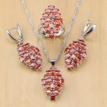 Mystic Red CZ 925 Sterling Silver <b>Jewelry</b> Sets For Women Wedding <b>Accessories</b> Earrings/Pendant/Necklace/Rings
