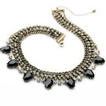 Retro <b>Jewelry</b> of the Hottest Wholesale Exaggerated Glass Water Drop Resin <b>Antique</b> Gold Color Choker Necklace