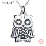 100% Pure 925 Sterling Silver <b>Jewelry</b> <b>Antique</b> Silver Owl Charm Necklace With S925 Stamp GNX10878