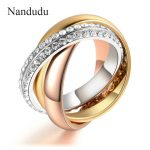 Nandudu 3 in 1 Ring Fashion Trend Nice Crystals <b>Jewelry</b> Gift for women HOT SALE Three Gold Color Rings <b>Accessories</b> R586