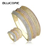 Blucome New Luxury Wide Big Bangles Rings Three Tones Full Rhinestones Wedding Party <b>Jewelry</b> Hand Finger <b>Accessories</b> For Women