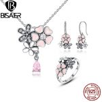 100% 925 Sterling Silver <b>Jewelry</b> Set Pink Flower Poetic Daisy Cherry Blossom <b>Jewelry</b> Sets Sterling Silver <b>Jewelry</b> <b>Accessories</b>