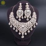 Fashion Gold Color Crystal Necklace Earrings Bridal <b>Jewelry</b> Sets For Brides Party Wedding Costume <b>Accessories</b> Decoration