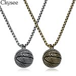 Ckysee Stainless Steel <b>Antique</b> Silver Titanium Basketball Pendant Necklace Sports Men <b>Jewelry</b> 55cm Long Chain Necklace For Women