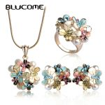 Blucome Simulated Pearl Enamel <b>Jewelry</b> Sets Blue Flower Necklace Earrings Ring Set For Women Bridal Bijoux Wedding <b>Accessories</b>