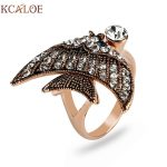 KCALOE Rose Gold Color Cute Fish Party Rings For Women Austrian Crystal Rhinestone <b>Antique</b> Animal Ring <b>Jewelry</b> Bague Femme