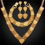 Wedding <b>Accessories</b> Heart Necklace Bracelet Earrings Set Gold Color MGC Trendy Vintage Bridal <b>Jewelry</b> Sets NEH233