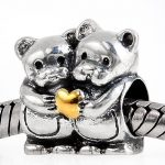 Two Bears in Hug <b>Antique</b> Tone Authentic 925 Sterling Silver Beads Fit European Charm Bracelet <b>Jewelry</b> SGPB4118