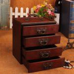 <b>Antique</b> <b>Jewelry</b> Storage Box Retro Ming & Qing Dynasty Style 4 Drawers Make-up Storage Box