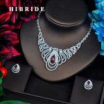 HIBRIDE Red Drop Clear CZ Pave Dubai Bridal <b>Jewelry</b> sets For Women <b>Accessories</b> Big Pendant Necklace Set Wedding <b>Jewelry</b> N-561