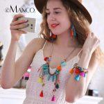 eManco Fashion Bohemia Multicolor Tassel Necklace & Earrings & Bracelet <b>Jewelry</b> Sets for Women Crystal Chain Pendant <b>Accessories</b>