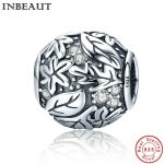 INBEAUT Cute Beads <b>Antique</b> 925 Sterling Silver Chain Leaves Carved Charm fit Pandora Bracelet Women <b>Jewelry</b> Making