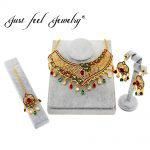 JUST FEEL Hot Sales Nigerian/India/Dubai Gold Color Big Necklace Earrings Headdress Sets Bridal Party <b>Jewelry</b> <b>Accessories</b>