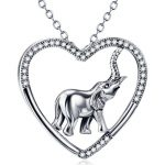 Genuine 925 Sterling Silver <b>Jewelry</b> Cubic Zirconia Heart Necklaces With <b>Antique</b> Silver Elephant Pendant Animal <b>Jewelry</b>