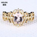 <b>Art</b> <b>Deco</b> Solid 10k Yellow Gold Morganite Ring Natural Diamond Engagement Wedding Ring for Women Vintage Fine <b>Jewelry</b> Vintage
