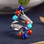 Thai silver ring S925 silver inlaid lapis lazuli <b>jewelry</b> craft <b>antique</b> female oval style atmosphere
