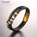 Collare Leather Bracelet For Women 316L Stainless Steel Gold Color Men <b>Accessories</b> Bracelets & Bangles <b>Jewelry</b> H235