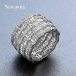 NEWBARK Fashion Trendy Round Bridal Ring Pave Cubic Zirconia Finger Ring Women Party Cocktail Ring <b>Jewelry</b> <b>Accessories</b> For Party