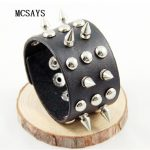MCSAYS Rocker Punk <b>Jewelry</b> Stainless Steel Sharp Rivet Decoration Leather Bracelet Gothic Bangle <b>Accessories</b> Hipster Gifts 4HD