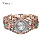 Wbmqda Hot Turkish <b>Jewelry</b> Watches <b>Antique</b> Gold Color Vintage Bracelets Bangles For Women Relojes Mujer Hollow Wrist Joias