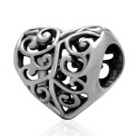 Openwork Heart Love Charms <b>Antique</b> 925 Sterling Silver Beads fit DIY Chamilia Style Snake Chain Bracelet <b>Jewelry</b>