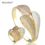 Madrry Personality Bangle & Ring <b>Jewelry</b> Sets AAA Cubic Zirconia 3 Colors Copper Metal Women Wedding <b>Accessories</b> Pulseira Joias