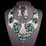 Fashion Indian big Jewellery Crystal Necklace Earrings set Bridal <b>Jewelry</b> Sets for Brides Wedding Costume <b>Accessories</b> Decoration