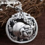 BALMORA 990 Pure Silver Blessed Pig Hollow Pendants for Women Men Vintage Thai Silver <b>Jewelry</b> Animal <b>Accessories</b> Gift SY13814