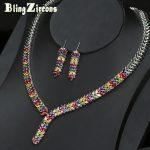 BlingZircons Colorful Women Wheatear Drop CZ Zircon Crystal Statement Necklace Earrings Indian <b>Jewelry</b> Wedding <b>Accessories</b> JS066