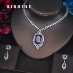 HIBRIDE Luxury Red Crystal CZ Stone <b>Jewelry</b> Sets For Women Bride Necklace Set Wedding Dress <b>Accessories</b> Wholesale Price N-387