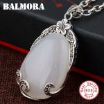 BALMORA 925 Sterling Silver Water Drop Pendants for Women Mother Gift <b>Accessories</b> Mosaic Flower <b>Jewelry</b> Without a Chain MN12079
