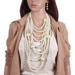 Simulated Pearl Bohemian <b>Jewelry</b> Sets Long Sweater Chain Costume <b>Accessories</b> Multi Layers Ethnic Style Necklace And Earrings Set