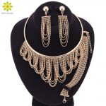 Nigerian Wedding African Beads <b>Jewelry</b> Sets Crystal Necklace Sets Gold Color <b>Jewelry</b> Set Wedding <b>Accessories</b> Party
