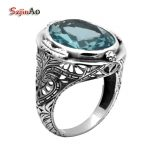 Szjinao Wholesale Fashion <b>Jewelry</b> Sky Blue Aquamarine Ring Frame Flowers <b>Antique</b> Ring 925 Sterling Silver Ring Wholesale