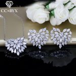 CC Wedding Sets For Women Heart Cubic Zirconia Bridal <b>Accessories</b> Pendants Necklace Stud Earrings 2pcs Set Bijoux Femme CCAS184