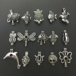 Charms 15pcs Mixed Animal Shape Locket <b>Antique</b> Silver Small Beads Pearl Cage Pendant Necklace Bracelet <b>Jewelry</b> Making Gift