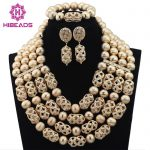 Luxury Dubai Gold Beaded Bold Statement Necklace Set Nigerian Wedding African Beads <b>Jewelry</b> Set <b>Accessory</b> Free Shipping WD317