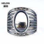<b>Art</b> <b>Deco</b> 925 Sterling Silver 10x15mm Oval Cabochon Semi Mount Engagement Ring Fine <b>Jewelry</b> Setting Adjustable Open