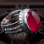 Red corundum ring S925 silver inlaid silver <b>antique</b> crafts handmade <b>jewelry</b> style simple female models