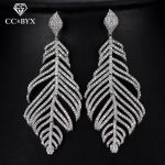 CC earrings for women luxury pageant special design high quality leaf shape crystal wedding <b>accessories</b> bride <b>jewelry</b> gift E0102