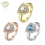 <b>Art</b> <b>Deco</b> Engagement Rings Romantic /Rose/White Gold Color Triangle Design Rings with AAA CZ Stone Fashion <b>Jewelry</b> for Women
