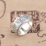 S925 wholesale Sterling Silver Ring Silver <b>Antique</b> Style Buddhist <b>jewelry</b> lovers eight auspicious transport ring