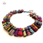 Unique African Women <b>Jewelry</b> Pure Handmade Statement Necklace Africa Printed Wax Fabric <b>Accessories</b> Necklaces WYA30