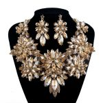 Bridal wedding statement <b>jewelry</b> sets rhinestone crystal necklace champagne color for women's party dress <b>accessories</b> <b>jewelry</b>