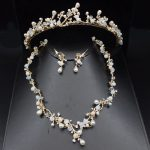 Luxurious Pearl Gold Wedding Bridal <b>Jewelry</b> Sets Women Prom Crystal Tiara Bride Necklace Earring Wedding <b>Jewelry</b> <b>Accessories</b>