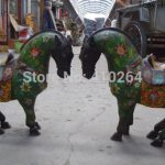 Free Shipping $wholesale_<b>jewelry</b>_wig $ 15 Inch China bonze cloisonne carved green flower horse pair Sculpture statue