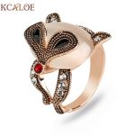 KCALOE Vintage Animal Ring Natural Opal Stone Rhinestone <b>Antique</b> Rose Gold Color Cute Fox Rings For Women Cocktail Party <b>Jewelry</b>