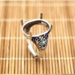 925 Sterling Silver Enamel Ring 12X16mm Oval Cabochon Semi Mount Wedding <b>Art</b> <b>Deco</b> Fine <b>Jewelry</b> Flower Vintage China Style